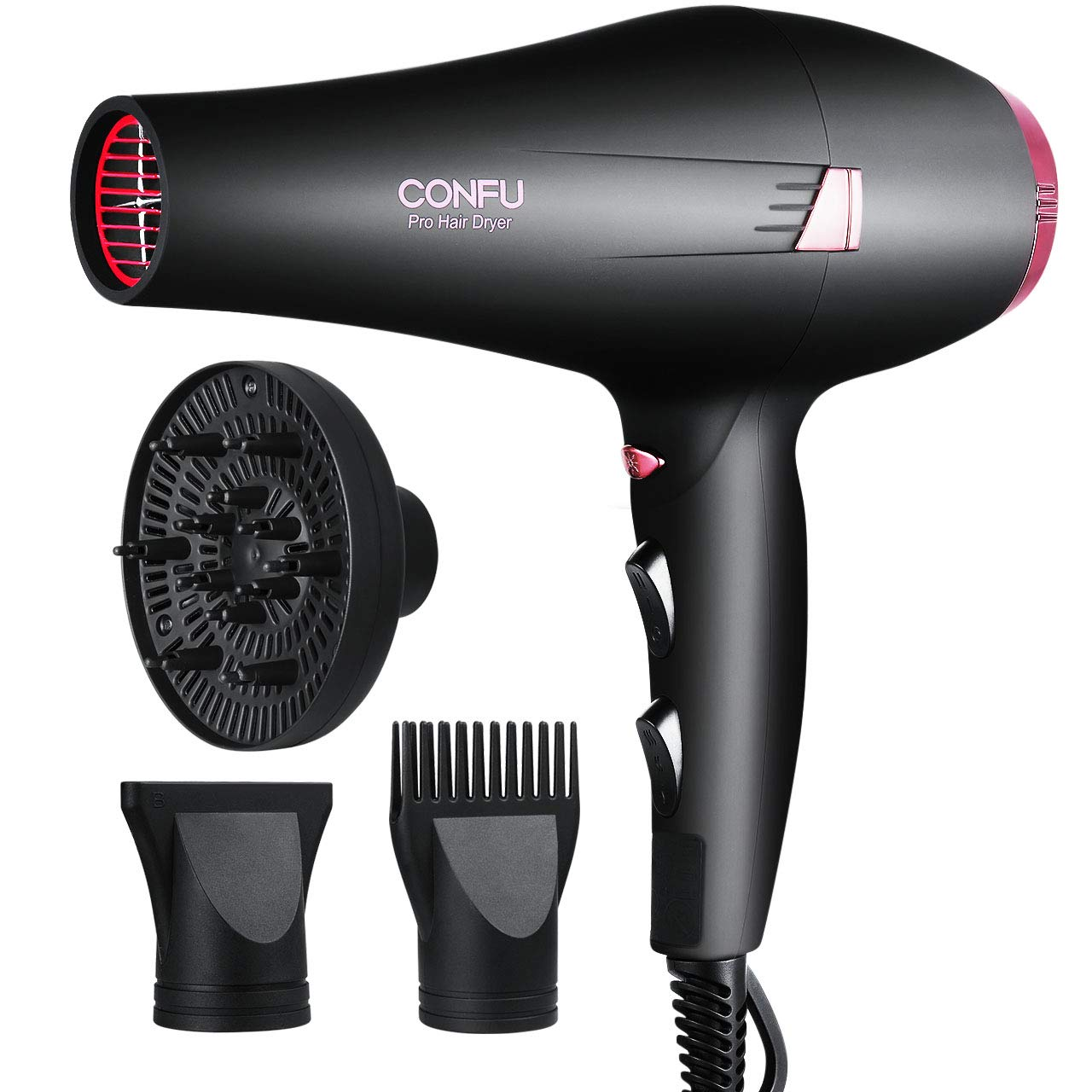 CONFU 1875W Professional Fast Drying Salon Hair Dryer, Infrared Heat Ceramic Ionic Blow Dryer with Concentrator, Diffuser and Comb