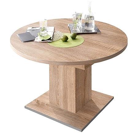 Tavolo da pranzo rotondo allungabile in legno di quercia ...
