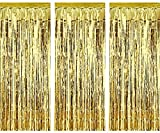JHere Shiny Gold Metallic Foil Fringe Door and Window Curtain for Party Photo Backdrop Decoration for Birthday and Wedding - Width 3.28 ft, Height 6.56 ft - Pack of 3