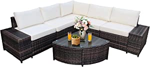Tangkula 6 Piece Wicker Patio Furniture Set, Outdoor All Weather PE Rattan Conversation Set w/Tempered Glass Coffee Table, Sectional Sofa Set w/Comfortable Cushions for Backyard, Garden (White)