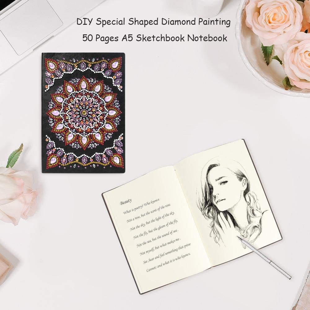Travel Notebook with Diamond Painting Cover Sketchbook Journal Mandala Diamond Painting 50 Pages A5 Notebook Notepad Mosaic Making Art Craft for Beginner JT001