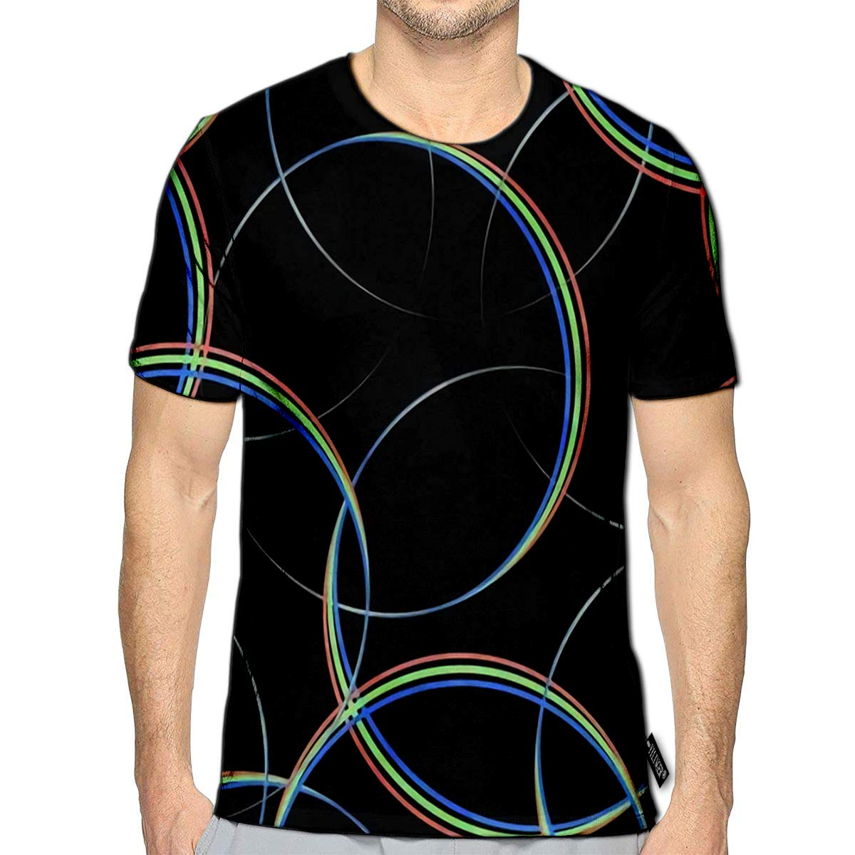 3D Printed T-Shirts Spectrum Circles Short Sleeve Tops Tees