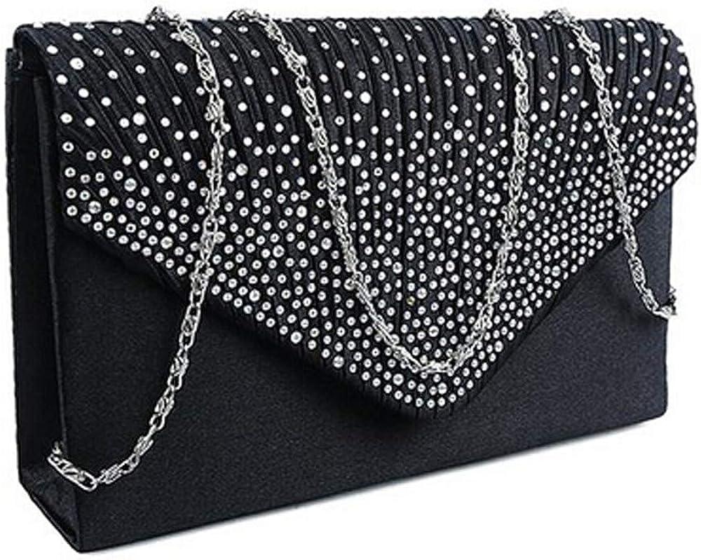 Sanyalei Women Evening Envelope Handbag Party Bridal Clutch Purse
