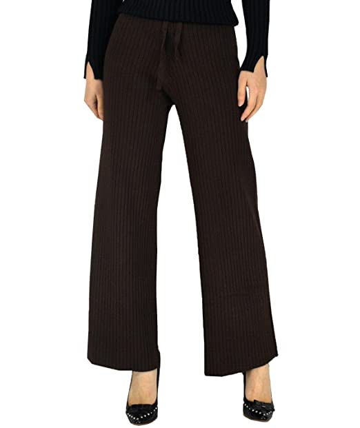 YSJ Women\u0027s Knitted Wide Leg Long Pants Winter Warm Sweater Trousers