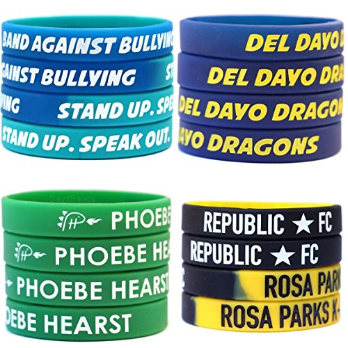 100 Custom Debossed Color Filled Silicone Wristbands by SayitBands