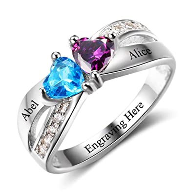 7175b70183 Roy Rose Jewelry Sterling Silver Personalized Two Heart Shape Birthstone 2  Name Custom Engraved and Inside
