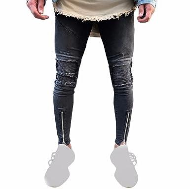 e2a9bd7bb283a OHQ Pantalon à Plis De Locomotive Jeans Grey Snowflake Noir Jean DéChiré Slim  Fit Moto Vintage