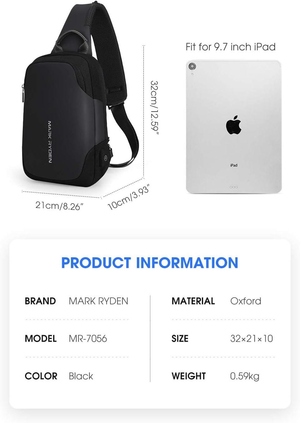 MARK RYDEN Anti-Vol Sling /Épaule Cross Body Bag Sac /à Dos Casual Day Pack avec USB Chargeur pour Hommes Femmes /…