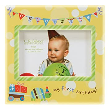 Amazon.com : C.R. Gibson Photo Frame, First Birthday (Discontinued ...