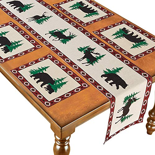 Woodland Bears with Aztec Border Table Linens Includes Table Runner Plus Four Placemats - Set of 5 (Bear Table Runner)