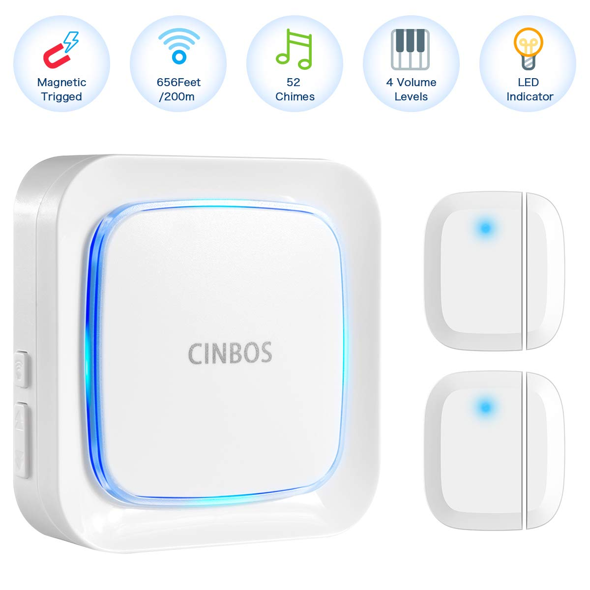 CINBOS Door Alarm for Home/Office,Wireless Door Open Chime Range 656 Feet/52 Chimes/4 Level Volume/LED Indicator Home Security Window Entry Alert Doorbell (2 Sensor + 1 Receiver)