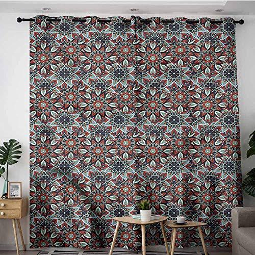 XXANS Kids Curtains,Vintage,Ottoman Floral Art,Blackout Draperies for Bedroom,W120x96L