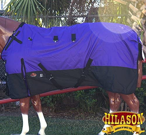 Hilason 1200dリップストップ防水Turnout冬Horse Blanketパープルブラック