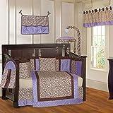 BabyFad Leopard Purple 10 Piece Baby Crib Bedding Set