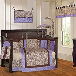 BabyFad Leopard Purple Unisex 10 Piece Baby Crib Bedding Set