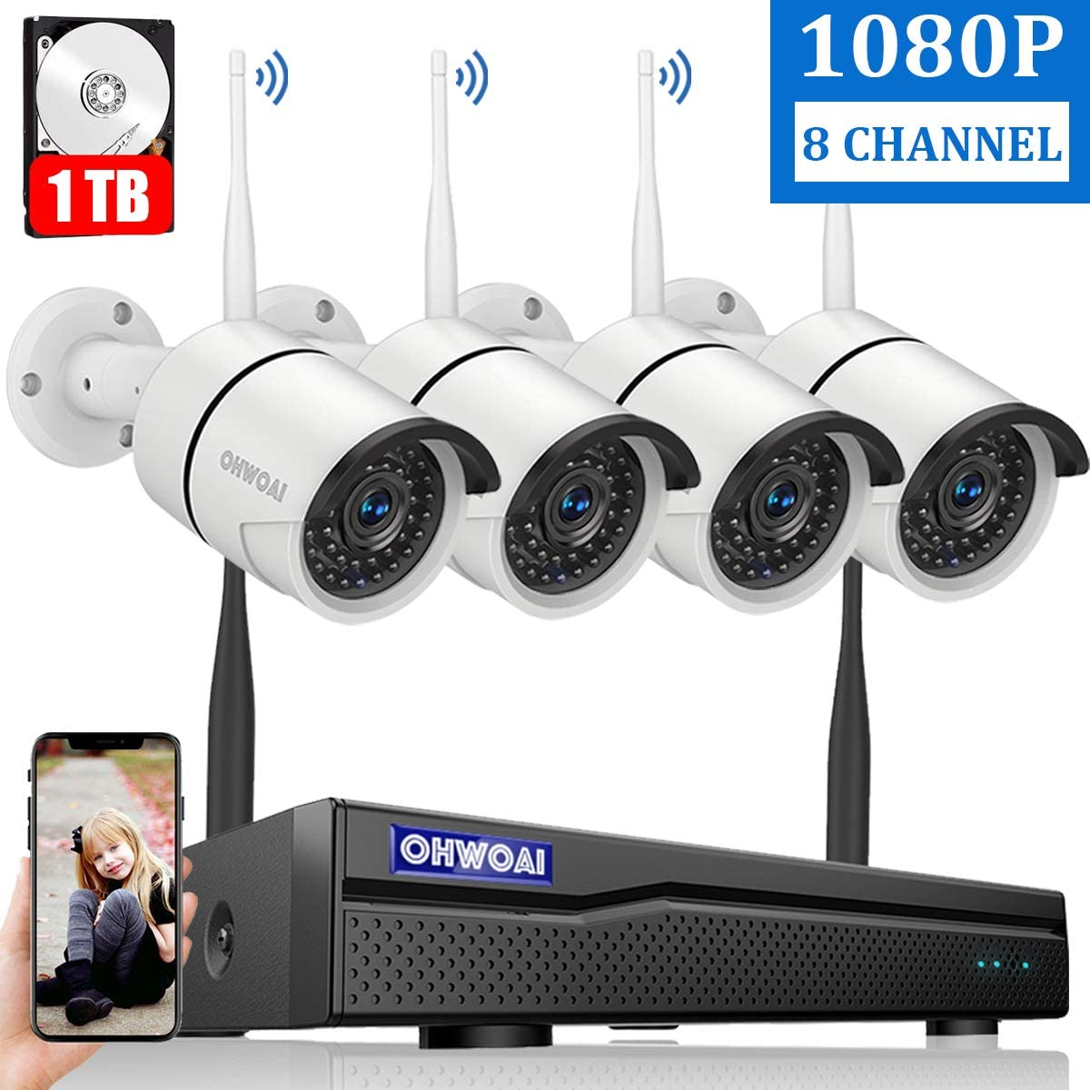 【8CH Expandable】 Home Security Camera System Wireless, OHWOAI 8 Channel 1080P Surveillance DVR Recorder with 1TB Hard Drive, 4Pcs 2.0MP 1080P Outdoor Wireless CCTV IP Cameras,Night Vision,Waterproof 616yulqQcRLSL1200_