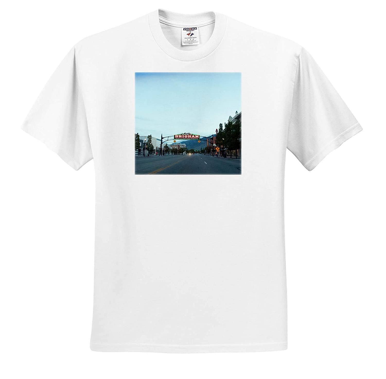 A Welcome Sign in to Brigham City Utah on Main 3dRose Jos Fauxtographee- Brigham City ts/_317873 Adult T-Shirt XL