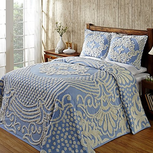 Chenille Bedspread Blue King, Tufted Cotton Embroidery, Sophisticated Old Fashion Charm, Vintage Medallion Bedding Surround Scroll Design, Bottom Bell Corners, Antique Chic Bedspread Only (Chenille Medallion)