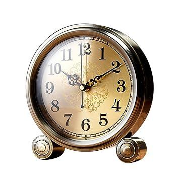 SESO UK- Reloj de Mesa Retro Americano Relojes de Escritorio silenciosos de Cobre Que no Hacen tictac para Oficina/Sala de Estudio: Amazon.es: Hogar