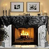 AZX Black Lace Cobweb Fireplace Scarf Halloween Decoration Spider Web Lace Mantle Scarf Party Supplies for Door Window Cover Decoration 46x244cm (2 PCS)