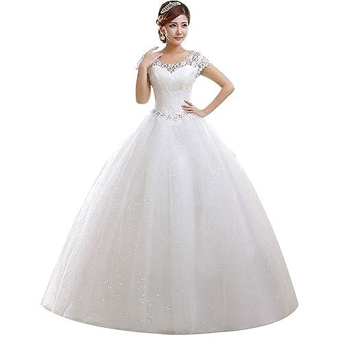 Eyekepper Doble Hombro piso-longitud del vestido nupcial del vestido de boda de encargo