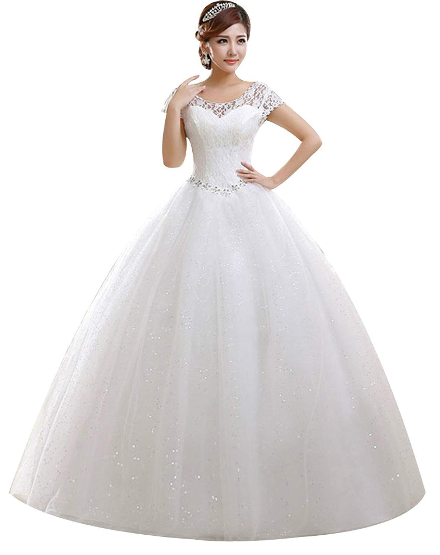 Eyekepper Double Shoulder Floor Length Wedding Dress