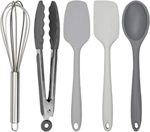 Cook with Color Silicone Cooking Utensils, 5 Pc Kitchen Utensil Set, Easy to Clean Silicone Kitchen Utensils, Cooking Utensils for Nonstick Cookware, Kitchen Gadgets Set (Ombre Gray)