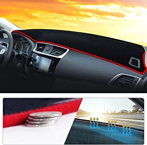 Maite Fit for Ford Edge 2011-2014 (Only for the dashboard without speaker) Car Dashboard Cover Dash Mat with Silicone Non-Slip Bottom, Anti-glare Red Line