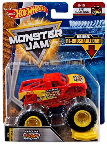 2018 Hot Wheels Monster Jam 1:64 Scale Truck with Re-Crushable Car - Carolina Crusher
