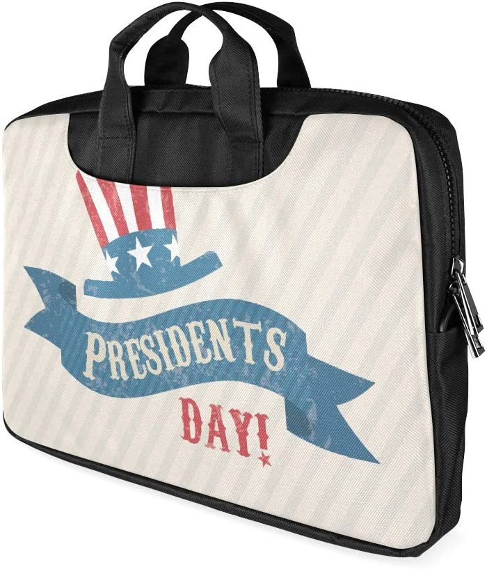 13 Inch Presidents Day USA Flag Hat Decor Laptop Bag with Handle Lightweight Laptop Case Briefcase Fits MacBook Air Pro