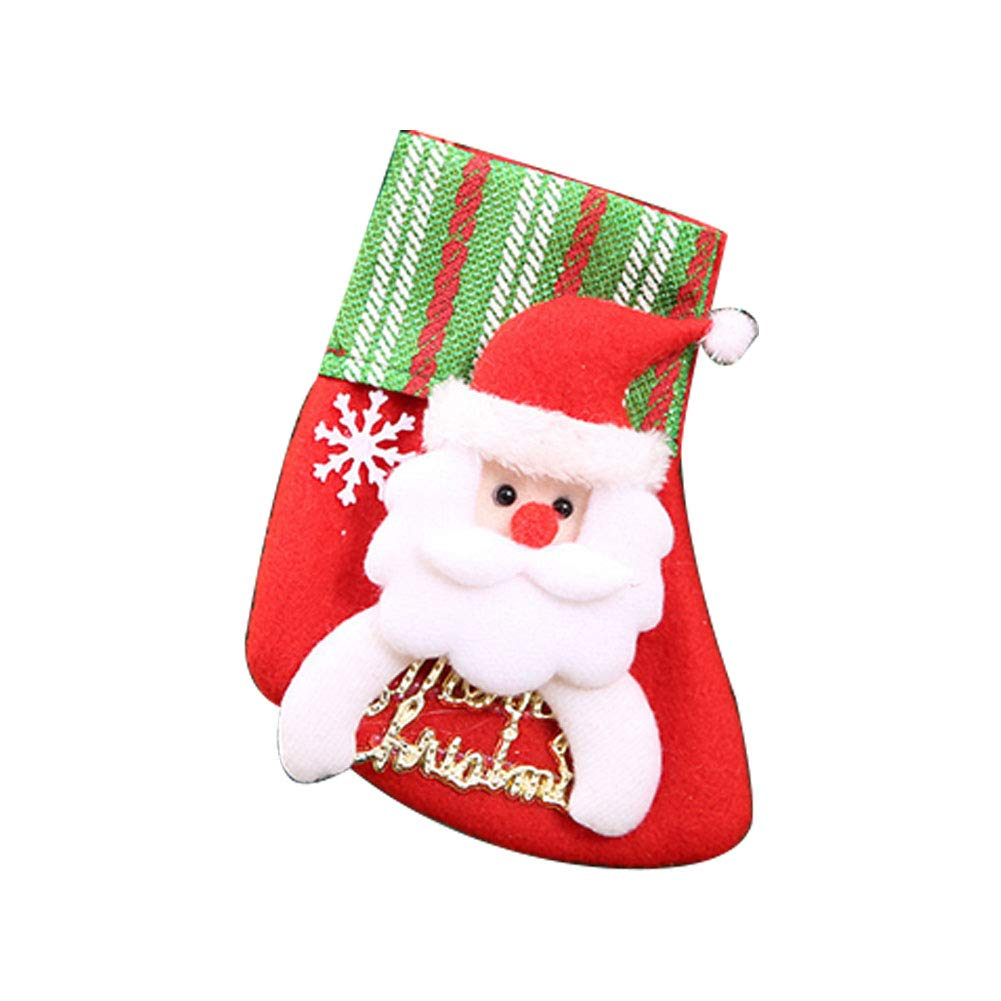 YaptheS Creative Christmas Sock Christmas Gift Candy Bag Hanging Ornament for Christmas Party Decoration Santa Claus Small Size Christmas Gift