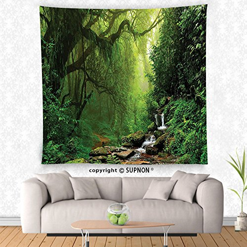 VROSELV custom tapestry Rainforest Decorations Tapestry Wall Hanging Forest in Nepal Footpath Wildlife Spring Plant And Stones Moisture Water Print Bedroom Living Room Dorm Decor Green - Street York Spring 7 New