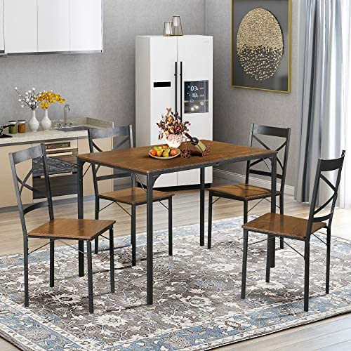 LENTIA 5-Piece Dining Table Set Vintage Table Top Home Kitchen Table with 4 Chairs Metal Dining Room Breakfast Modern Furniture Espresso