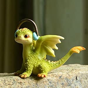 TEAYASON Mythical Green Baby Dragon Statue Collectible,Mini Dragon Figurine Rex Figure Reading,Miniature Garden Decor Cute Magic Dragon B 9X6X7.5Cm(3.5X2.4X3Inch),B,9X6X7.5Cm(3.5X2.4X3Inch)