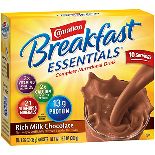 (Carnation Breakfast Essentials Powder Drink Mix, Rich Milk Chocolate, 10 Count Box of 1.26 Ounce Packets (Pack of 6))