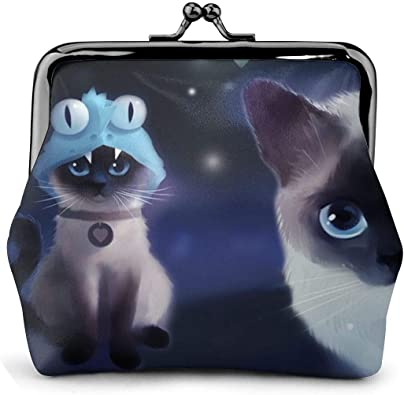 Siamese Star Cat Art Frog Vintage Pouch Girl Kiss-lock Change Purse Wallets Buckle Leather Coin Purses Key Woman Printed Unique Design