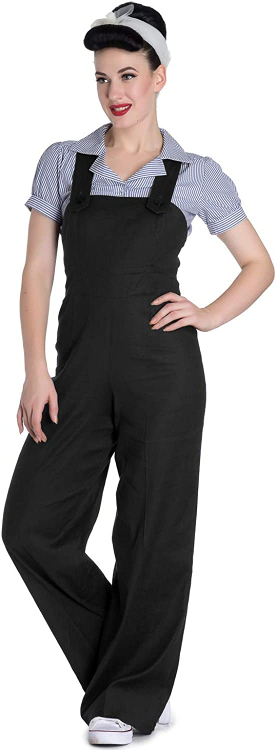 Hell Bunny Penny Dungaree Women Jumpsuit Black