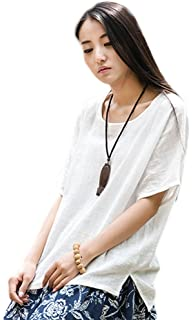 70e4c6c37ff4f Soojun Women s Casual Loose Short Sleeve Round Collar Cotton Linen Shirt  Blouse Tops