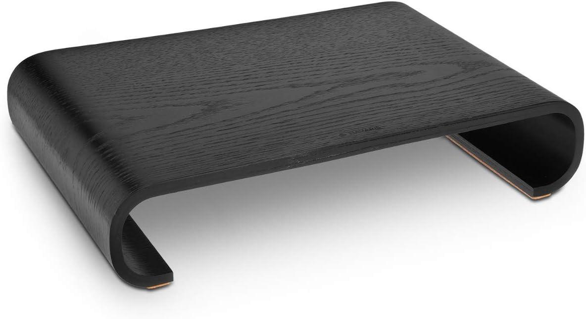 Navaris Wood Monitor Stand Riser - Computer Desk Organizer Desktop Dock Wooden Mount Display for PC TV Screen Notebook Laptop - Oak with Black Stain