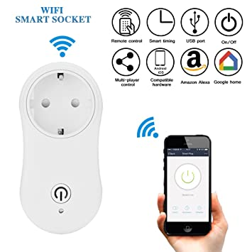 Wifi Smart Plug, ONEVER Wireless Wi-Fi Socket Inteligente Tomacorriente Trabajar Con Amazon Alexa