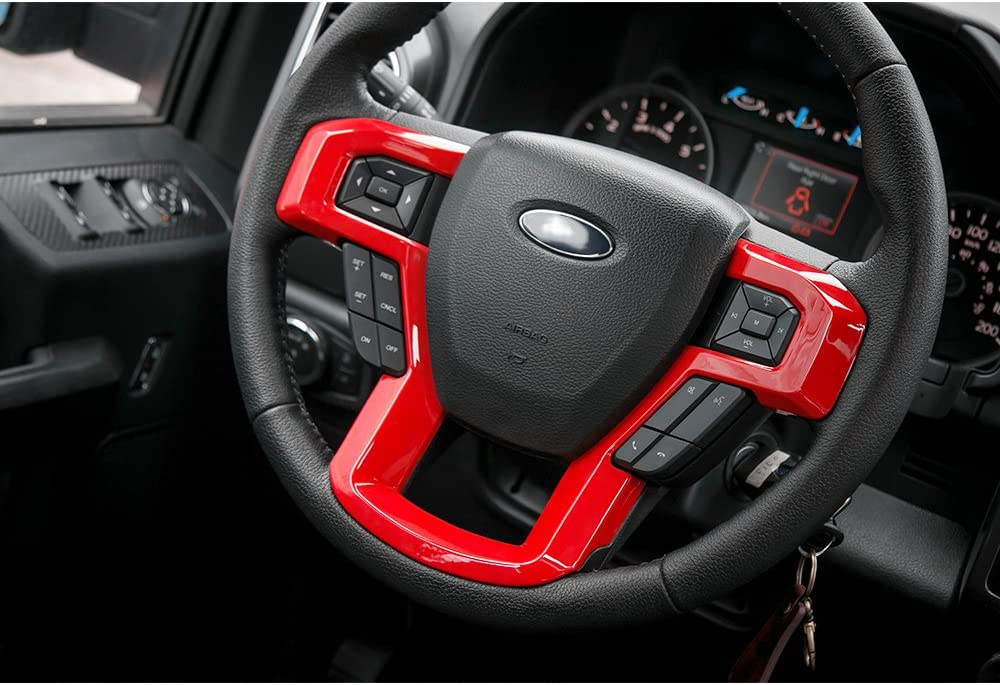 Car Steering Wheel Trim Cover Frame Interior Accessories for Ford F150 2015 2016 2017 Wood Grain