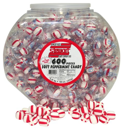 Stewart Candy Tub, Soft Peppermint Candy, for Office Breakrooms, 600 Count (AUA10307)