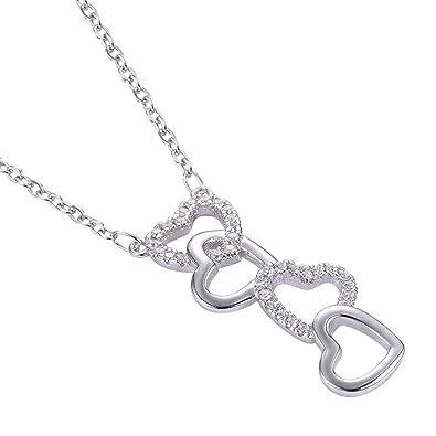 Adisaer Womens Silver Pendant Necklaces Multi Heart Shape Pendant Cubic Zirconia White 17.7 Length