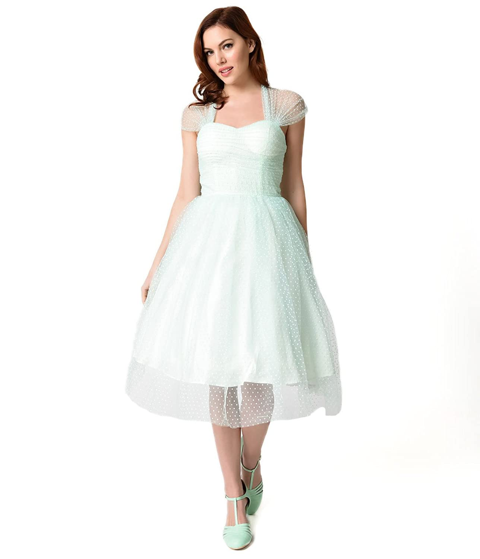 Unique Vintage Mint & White Swiss Dot Garden State Mesh Cocktail Dress