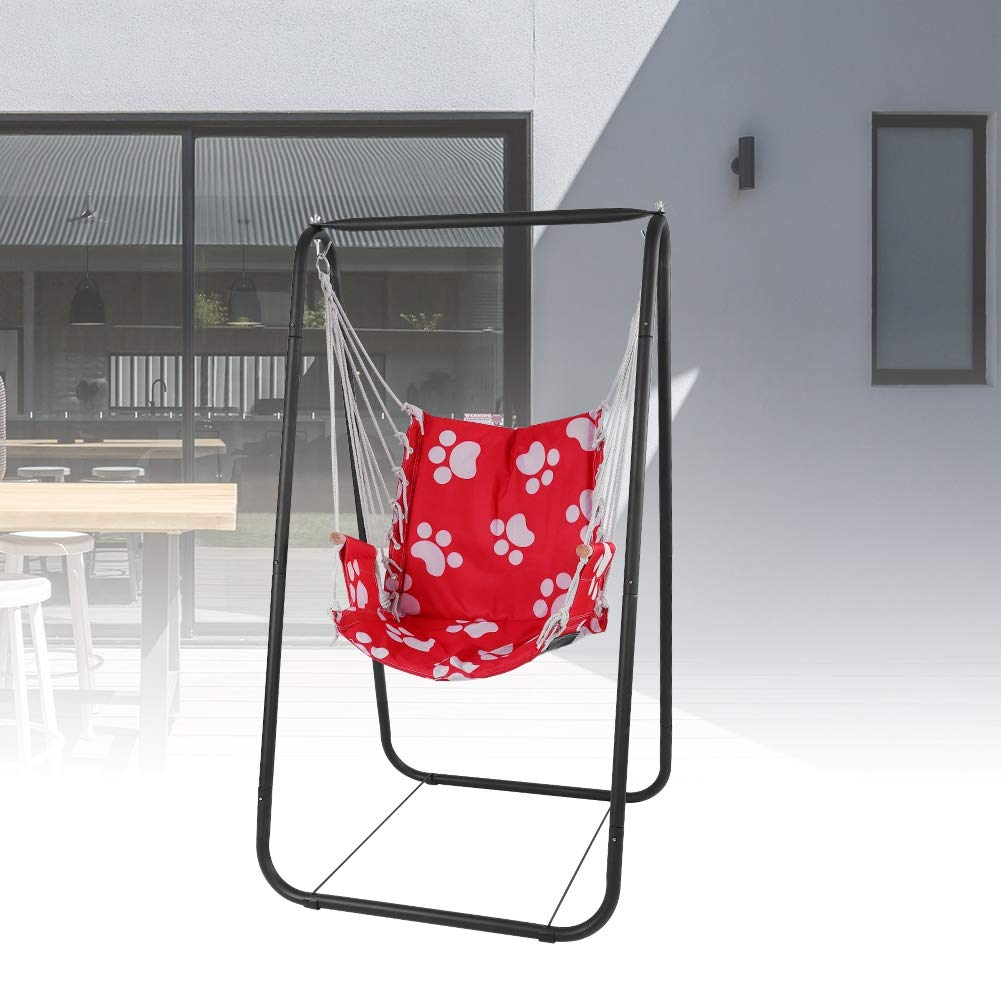 Red GOTOTOP Garden Hammock Stand with Seat Kid Yard Swing Rack with Seat and Hanging Rope