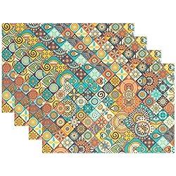 wihve clásico mármol mexicano azulejos de cerámica medallón, Multi 01, 12 x 18 inch, 4
