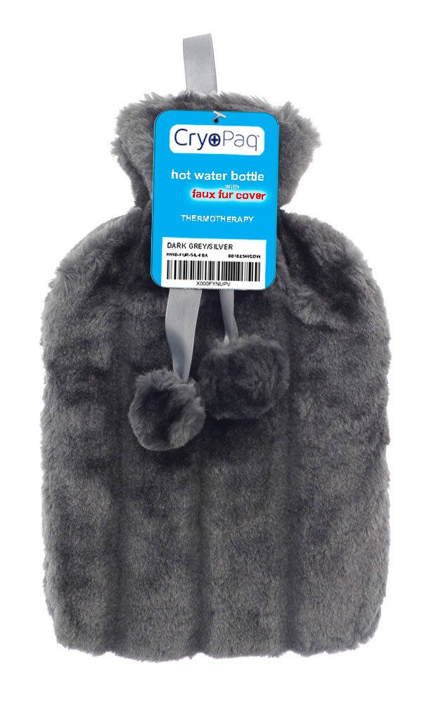 Luxury Hot Water Bottle with Best Plush Faux Fur Cover (Dark Blue) Cryopaq