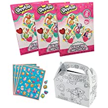 SHOPKINS Valentines for 32 Students & Teacher - Valentines Day Kids School Classroom Party Exchange Candy & Card Kit - Includes: Cards & Lollipops, Stickers & Color Your Own Mailbox Holder