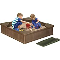 Modern Home 4ft x 4ft Weather Resistant Outdoor Sandbox Kit w/Cover