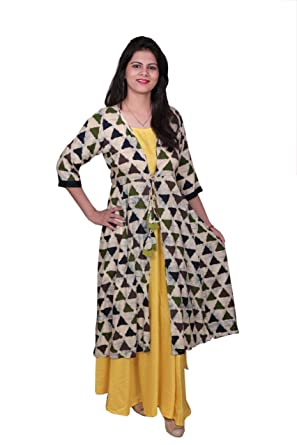 a265a58ca8 Libas Cotton Dress/Long Dress/Maxi Dress/Long Kurti with Printed Jacket (